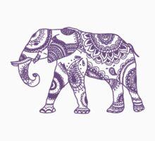 Patterned Elephant - Purple Baby Tee