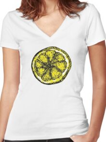The Stone Roses lemon (Big) Women's Fitted V-Neck T-Shirt