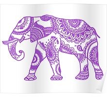 Patterned Elephant - Purple Poster