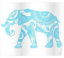 Printed Elephant - Blue Poster