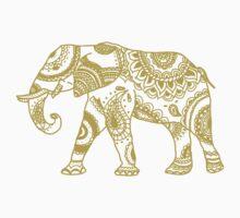 Patterned Elephant - Gold Kids Tee