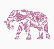Patterned Elephant - Pink One Piece - Short Sleeve