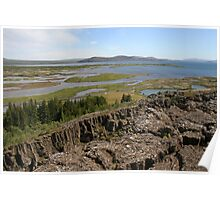 Tectonic plate boundaries in Thingellir National Park at Parliament Iceland Poster