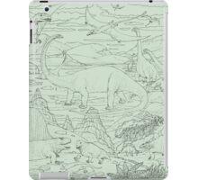 Dinosaur Scene, Green Background iPad Case/Skin
