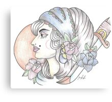 traditional gypsy woman tattoo Canvas Print
