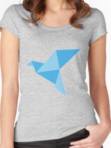 Blue paper bird Women's Fitted Scoop T-Shirt