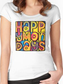 Happy Mondays Logo Women's Fitted Scoop T-Shirt