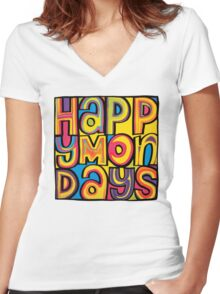 Happy Mondays Logo Women's Fitted V-Neck T-Shirt