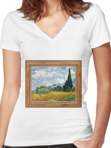 Vincent Van Gogh - Wheat Field with Cypresses, Impressionism. Van Gogh Women's Fitted V-Neck T-Shirt