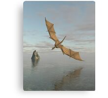 Dragon Flying Low Over the Sea in Daylight Canvas Print