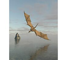 Dragon Flying Low Over the Sea in Daylight Photographic Print