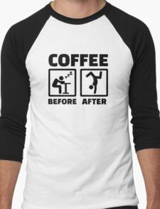 Coffee before after Men's Baseball ¾ T-Shirt