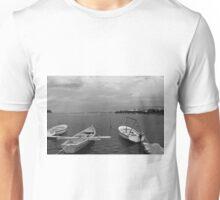 Boats In Dubrovnik - Croatia - Black & White Unisex T-Shirt
