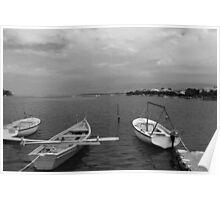 Boats In Dubrovnik - Croatia - Black & White Poster