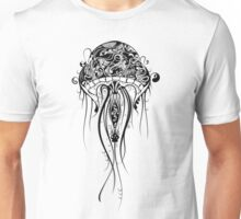 Black Retro Jellyfish Over White Background Unisex T-Shirt