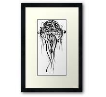 Black Retro Jellyfish Over White Background Framed Print