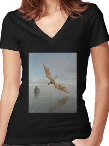 Dragon Flying Low Over the Sea in Daylight Women's Fitted V-Neck T-Shirt
