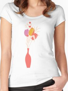 Spring flower pattern, tulips and lilies, 004 Women's Fitted Scoop T-Shirt
