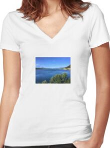 River in Croatia Women's Fitted V-Neck T-Shirt