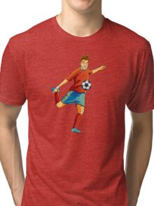 Portugal player kick the ball in euro cup Tri-blend T-Shirt