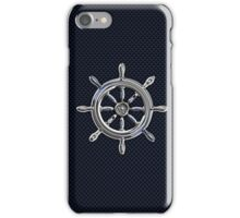 Chrome Style Nautical Wheel Applique iPhone Case/Skin