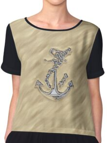Chrome Anchor in Sand Chiffon Top