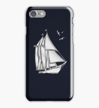 Chrome Style Nautical Sail Boat Applique iPhone Case/Skin