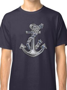 Chrome Style Nautical Rope Anchor Applique Classic T-Shirt