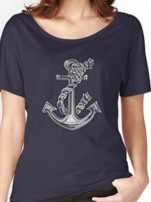 Chrome Style Nautical Rope Anchor Applique Women's Relaxed Fit T-Shirt