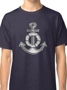 Chrome Style Nautical Life Anchor Applique Classic T-Shirt