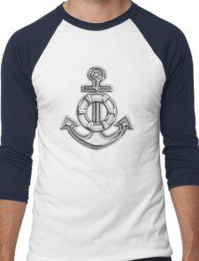 Chrome Style Nautical Life Anchor Applique Men's Baseball ¾ T-Shirt