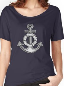 Chrome Style Nautical Life Anchor Applique Women's Relaxed Fit T-Shirt