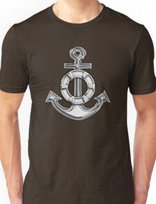 Chrome Style Nautical Life Anchor Applique Unisex T-Shirt