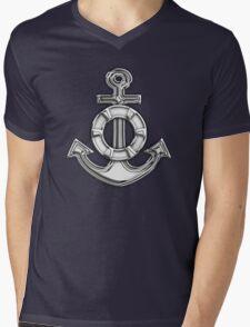 Chrome Style Nautical Life Anchor Applique Mens V-Neck T-Shirt