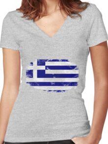 Greece vintage flag Women's Fitted V-Neck T-Shirt