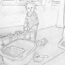 Toddler playing - Pencil Sketch... by Qnita