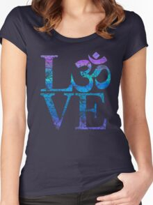 OM LOVE Spiritual Symbol in Distressed Style Women's Fitted Scoop T-Shirt