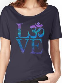 OM LOVE Spiritual Symbol in Distressed Style Women's Relaxed Fit T-Shirt