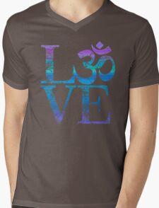 OM LOVE Spiritual Symbol in Distressed Style Mens V-Neck T-Shirt
