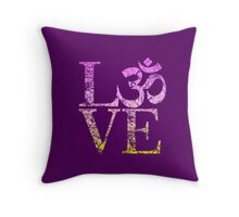 OM LOVE Spiritual Symbol in Distressed Style Throw Pillow