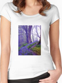 Bluebells in the Forest Rain Women's Fitted Scoop T-Shirt