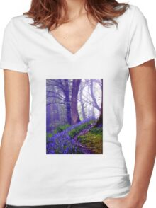 Bluebells in the Forest Rain Women's Fitted V-Neck T-Shirt