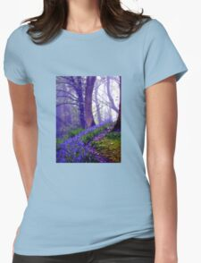 Bluebells in the Forest Rain Womens Fitted T-Shirt