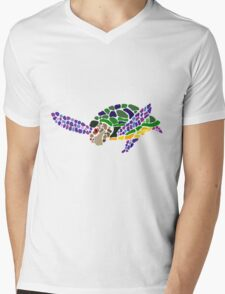 Cool Fun Artsy Sea Turtle Abstract Art Mens V-Neck T-Shirt
