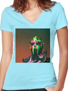 MF DOOM Vector art Women's Fitted V-Neck T-Shirt