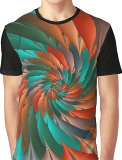 Green & Orange Spiral Fractal  Graphic T-Shirt