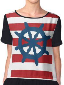 Nautical Wheel Chiffon Top