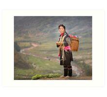Vietnamese woman in landscape Art Print