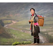 Vietnamese woman in landscape Photographic Print