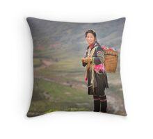 Vietnamese woman in landscape Throw Pillow